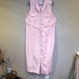 Motherhood LINEN pink long button dress. Ties  M